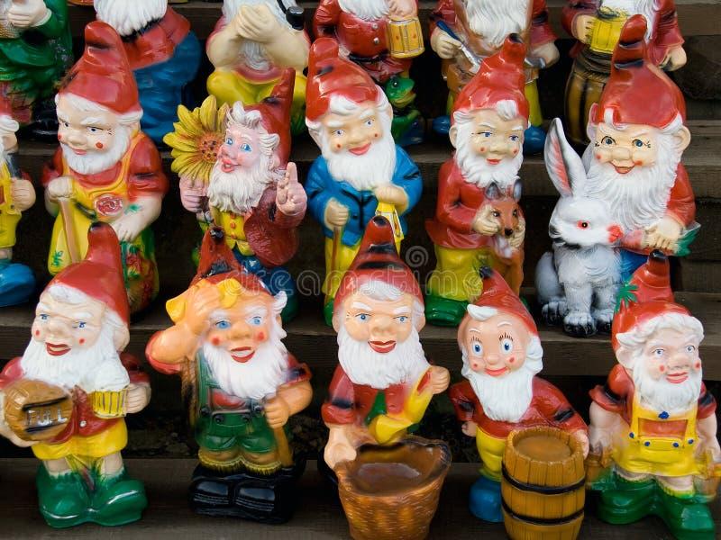 Inzameling van stuk speelgoed dwergen stock afbeeldingen