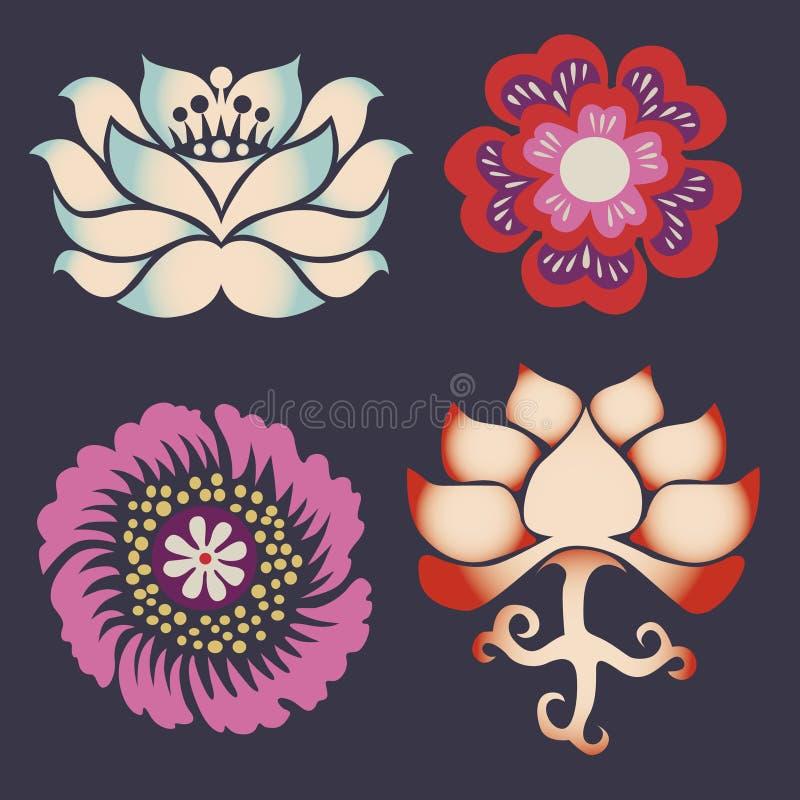 Inzameling van symbolen van een lotusbloem royalty-vrije illustratie
