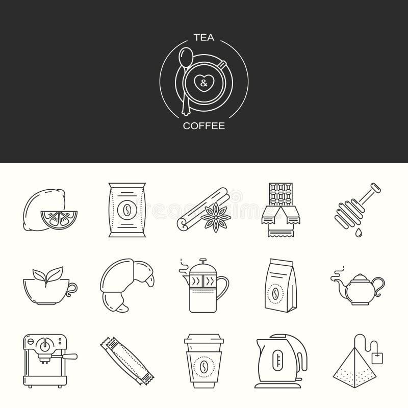 Inzameling van thee en koffie vectorpictogrammen vector illustratie