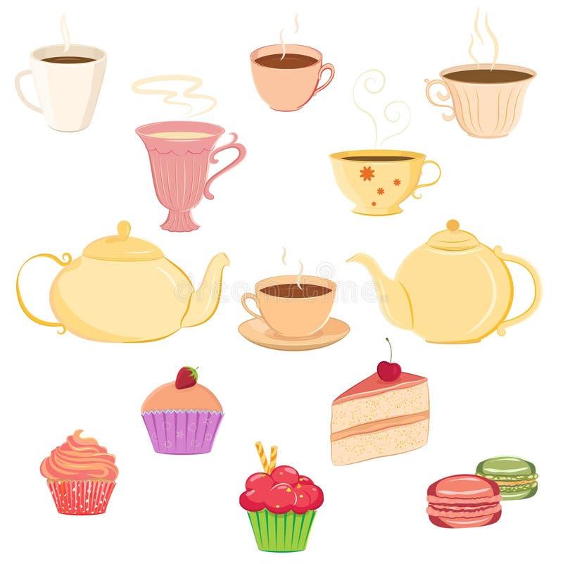 Inzameling van theekopjes, theepotten en snoepjes vector illustratie