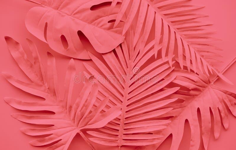 Inzameling van tropische bladeren, gebladerteinstallatie in kleur van jaar 2019 Het abstracte ontwerp van de bladdecoratie stock afbeelding