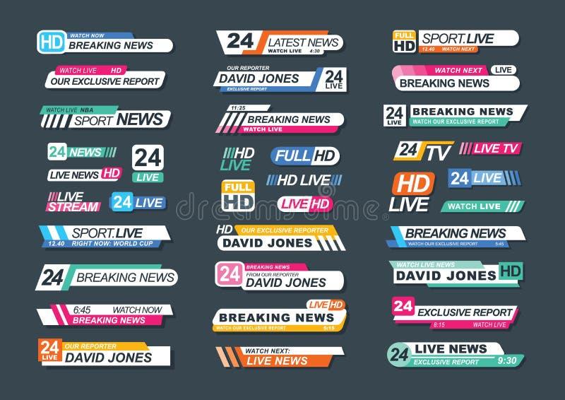 Inzameling van TV-nieuwsbars voor nieuws, rapporten, levende kanalen, stromen Bundel van televisiekentekens op dark worden geïsol stock illustratie