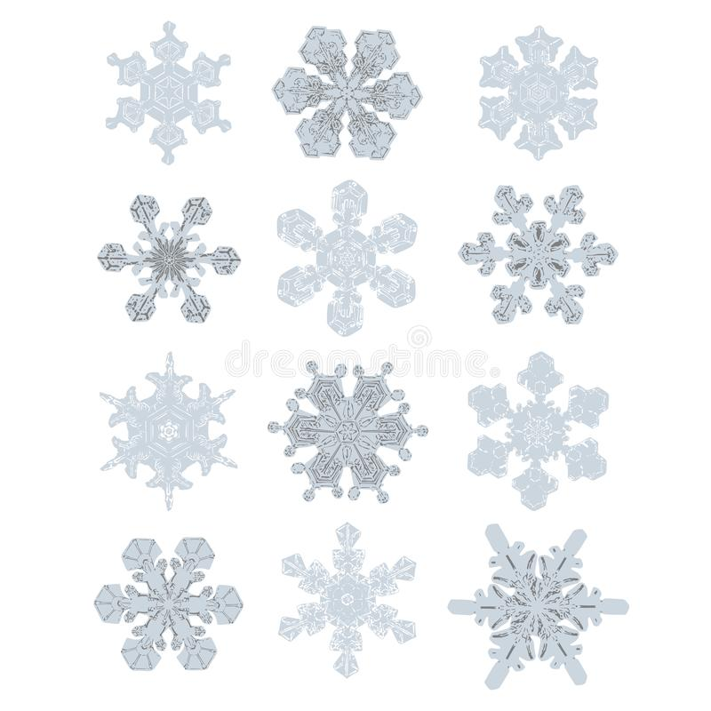 Inzameling van uiterst Gedetailleerde Sneeuwvlokken Aard Gelijk Ontwerp stock illustratie