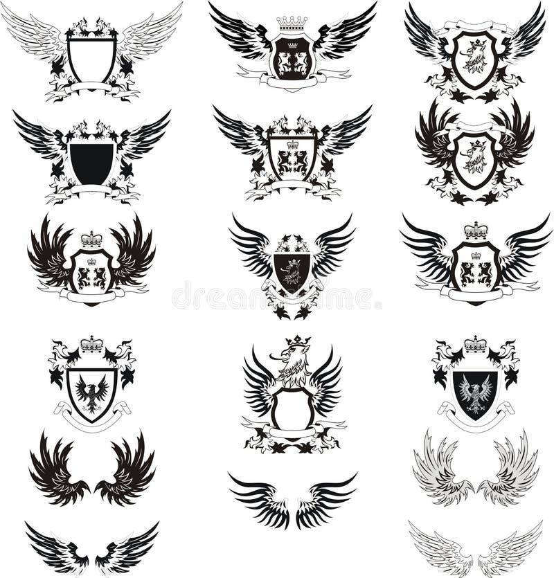 Inzameling van uitstekend wapenschild royalty-vrije illustratie