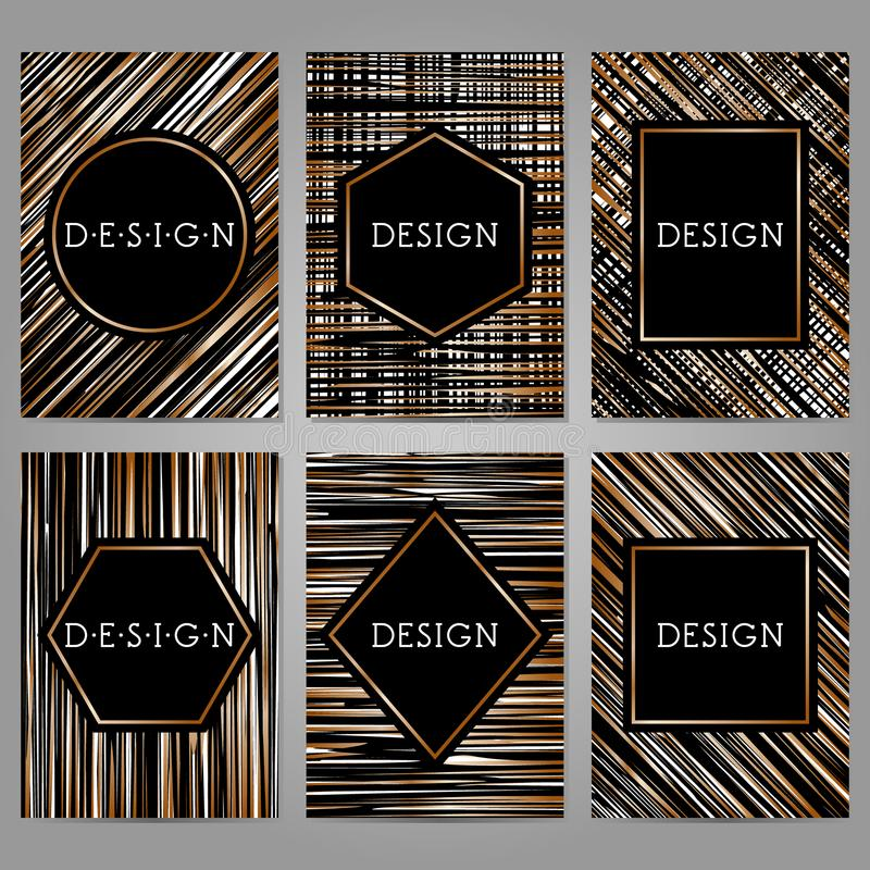 Inzameling van 6 uitstekende kaartmalplaatjes in zwart-witte kleuren royalty-vrije illustratie