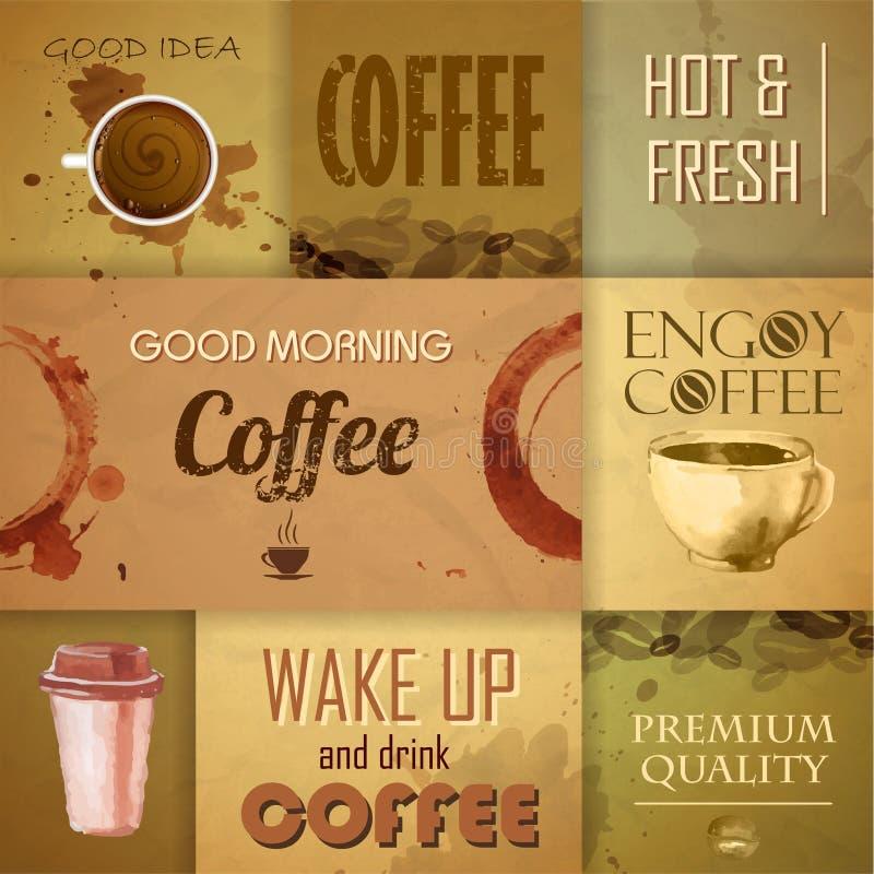 Inzameling van uitstekende Koffieelementen stock illustratie