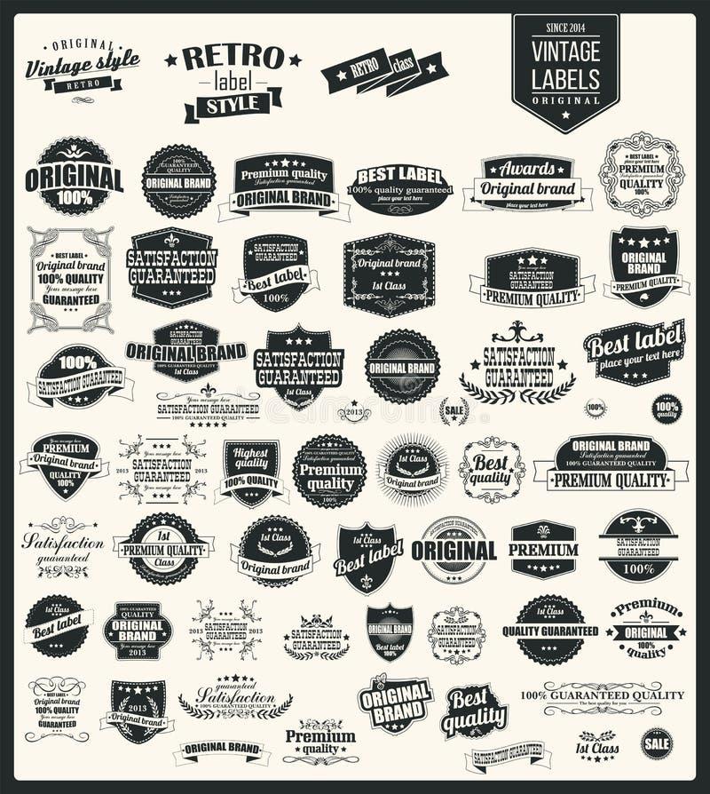 Inzameling van uitstekende retro etiketten, kentekens, zegels, linten royalty-vrije illustratie
