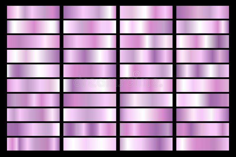 Inzameling van ultraviolette gradiënt Briljante platen met purper effect Vector illustratie royalty-vrije illustratie