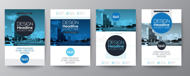 Inzameling van van de de brochuredekking van de affichevlieger het malplaatje van het de lay-outontwerp vector illustratie