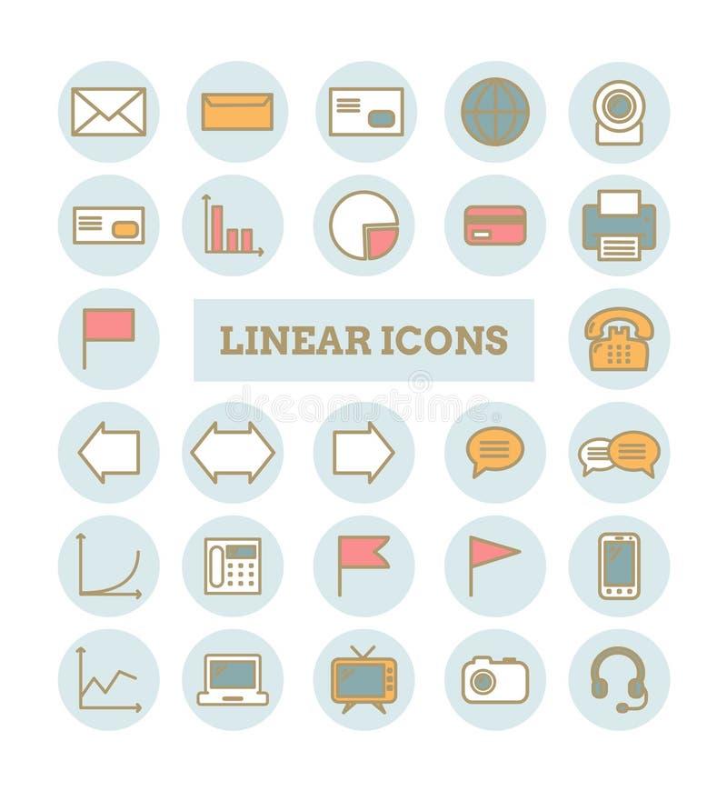 Inzameling van vector dunne lineaire Webpictogrammen: zaken, media, mededelingen vector illustratie