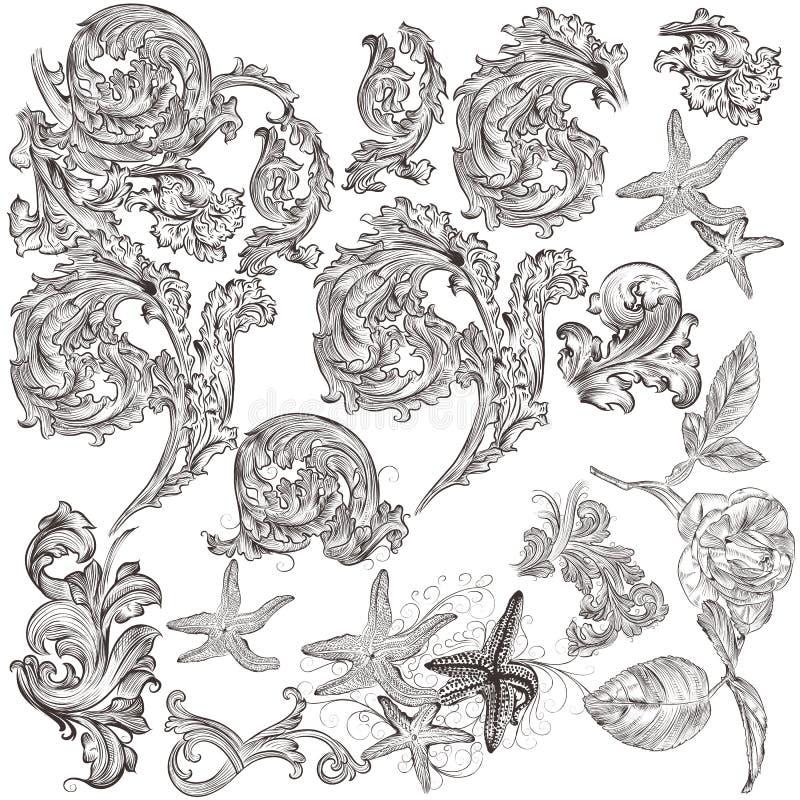 Inzameling van vector uitstekende wervelingselementen voor ontwerp royalty-vrije illustratie