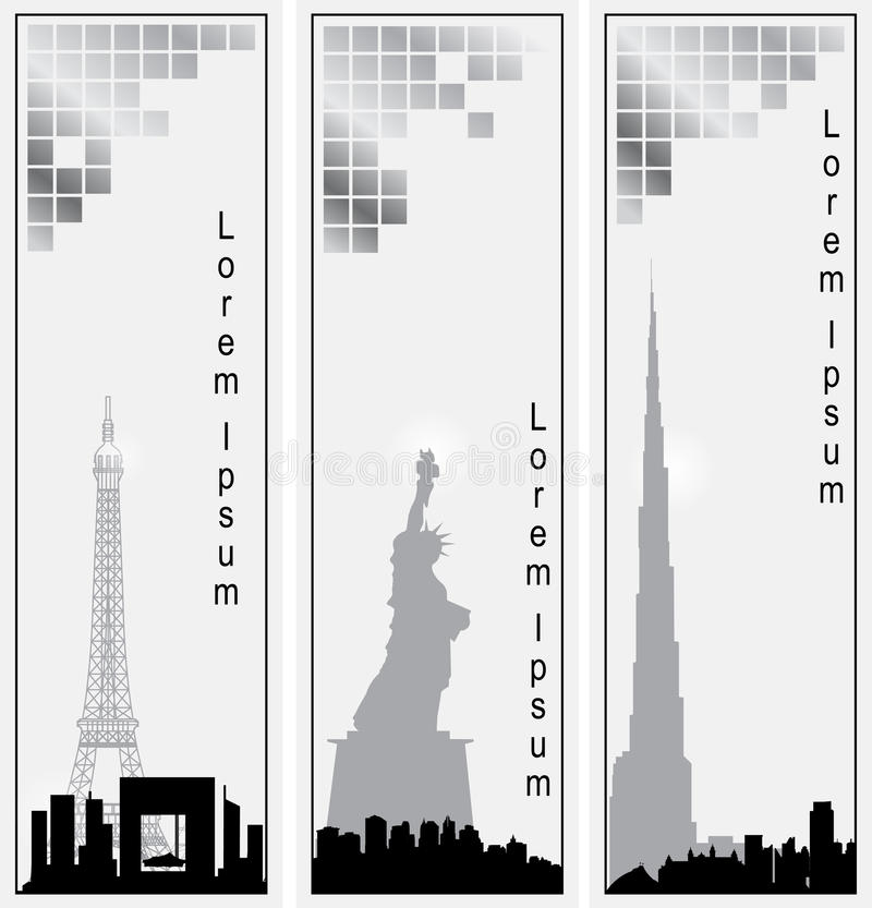 Inzameling van vector verticale banners van steden vector illustratie