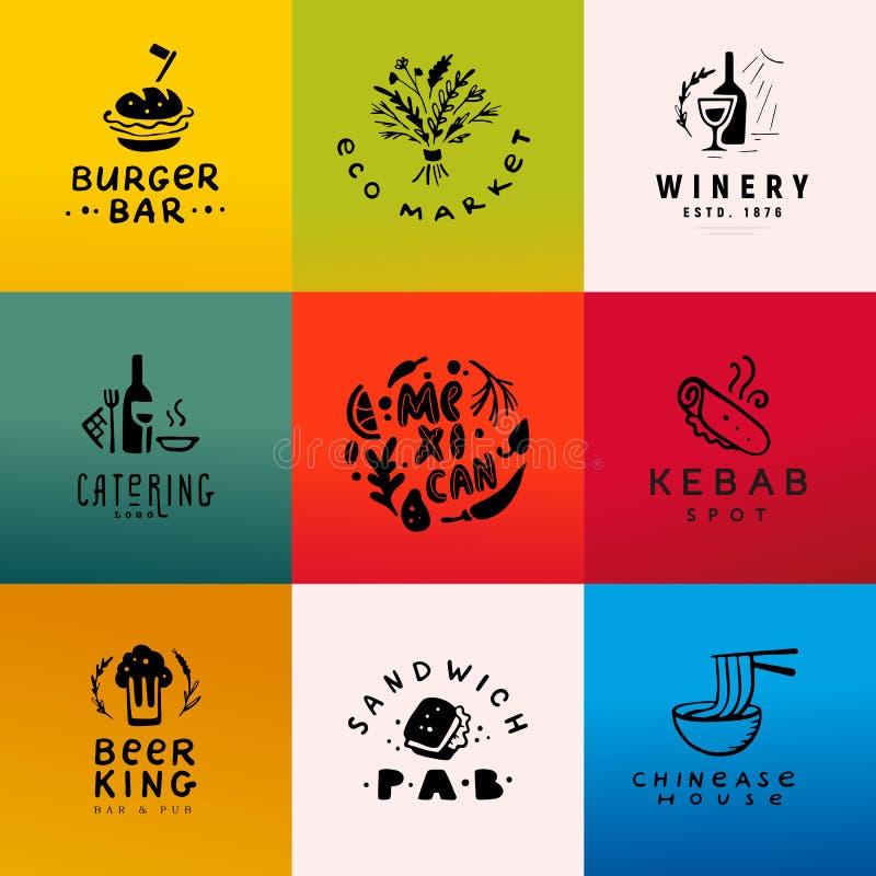 Inzameling van vector vlak vers voedsel, snel die voedsel, koffie en alcoholembleemreeks op witte achtergrond wordt geïsoleerd stock illustratie