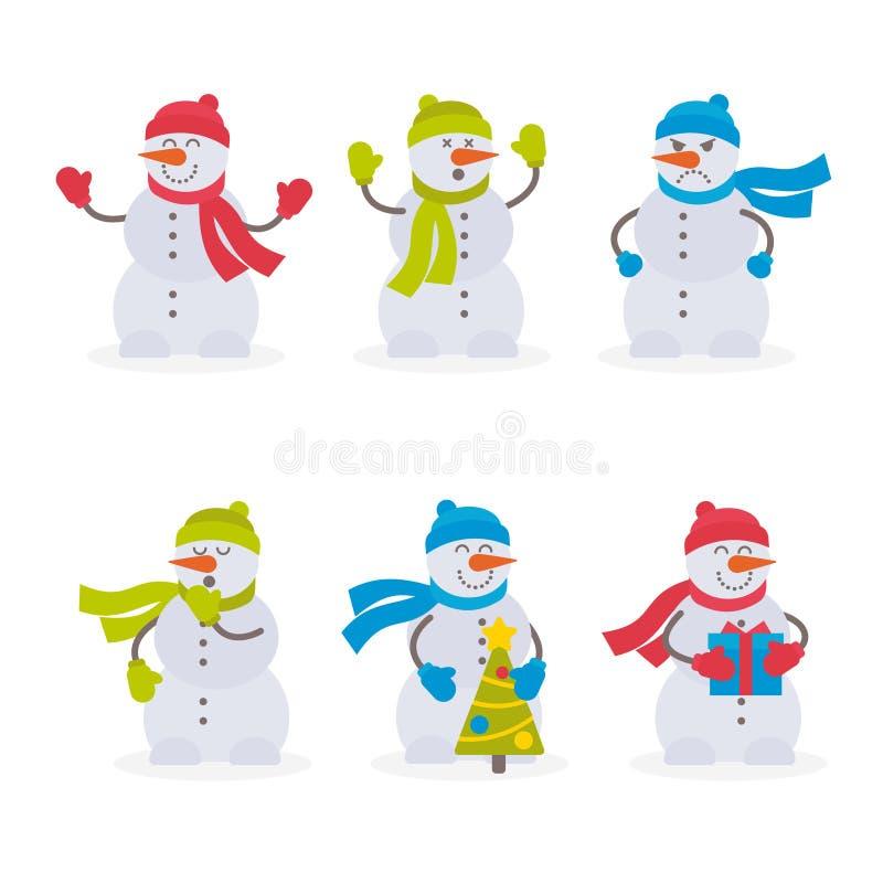 Inzameling van vector vlakke kleurrijke sneeuwmannen op witte achtergrond stock illustratie