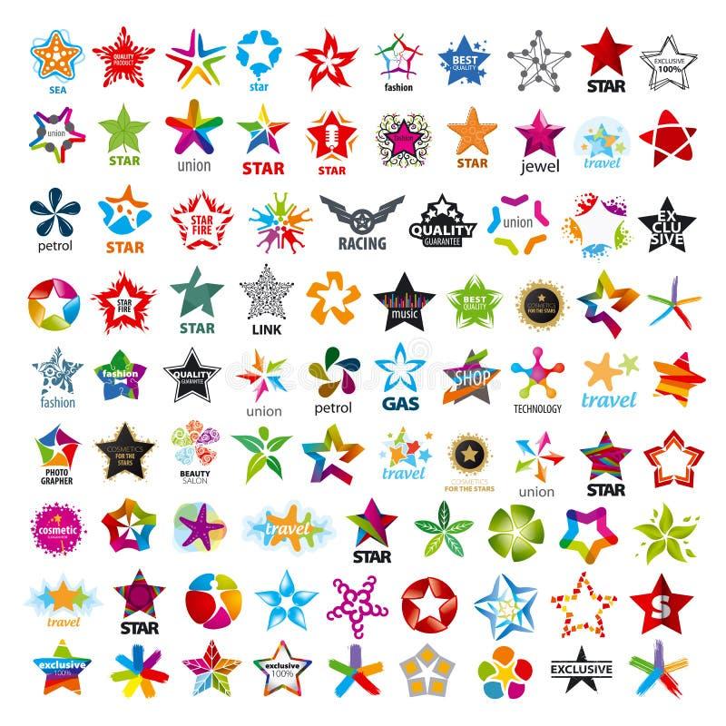 Inzameling van vectoremblemen vijf-gerichte sterren vector illustratie