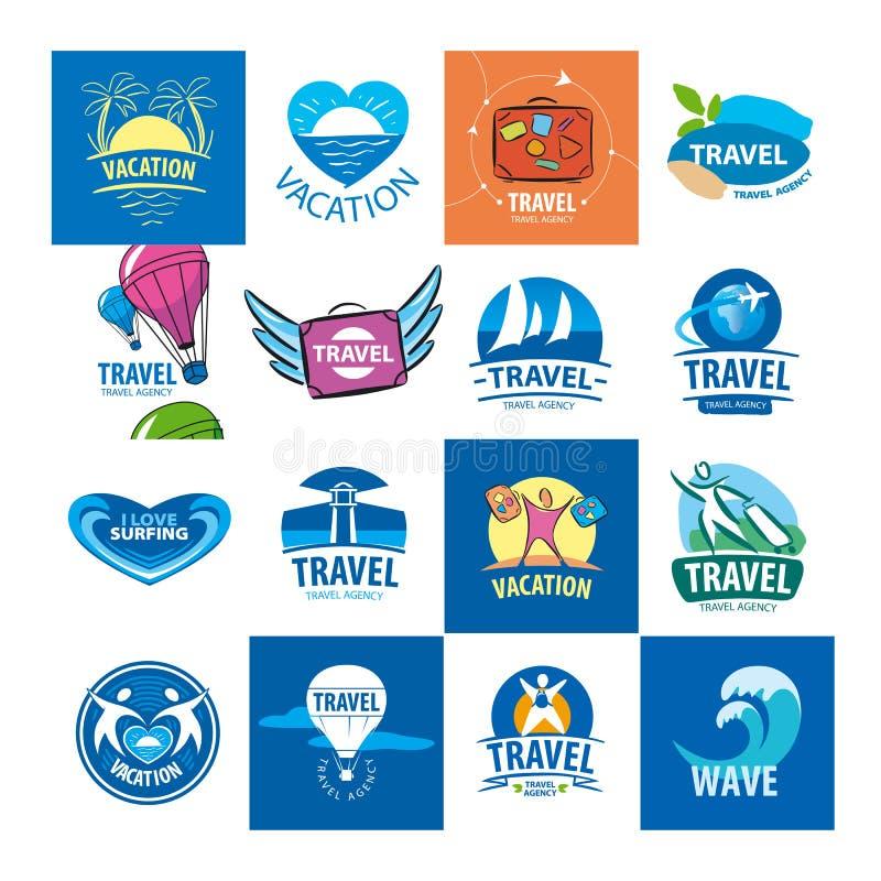 Inzameling van vectoremblemen voor reis en toerisme vector illustratie