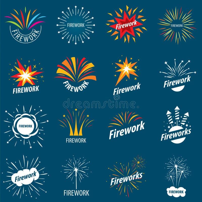 Inzameling van vectoremblemen voor vuurwerk royalty-vrije illustratie