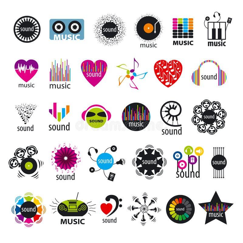 Inzameling van vectoremblemenmuziek en geluiden stock illustratie