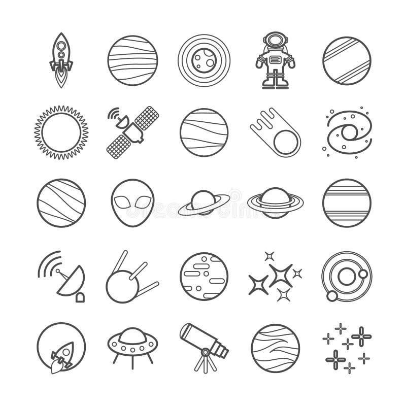 Inzameling van vectorlijn ruimtepictogrammen stock illustratie