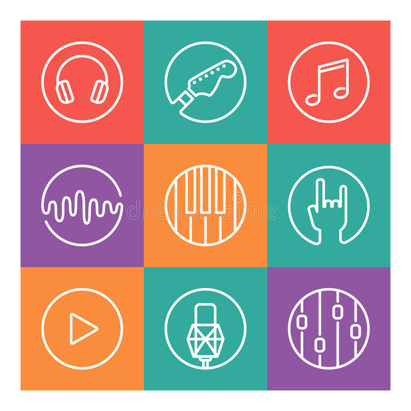 Inzameling van vectormuziek of opnamestudiopictogrammen vector illustratie