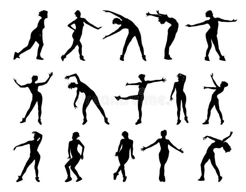 Inzameling van vectorsilhouetten van dansende die meisjes op witte achtergrond worden geïsoleerd stock illustratie