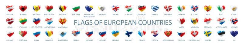 Inzameling van vectorvlaggen van Europa in de vorm van harten stock illustratie