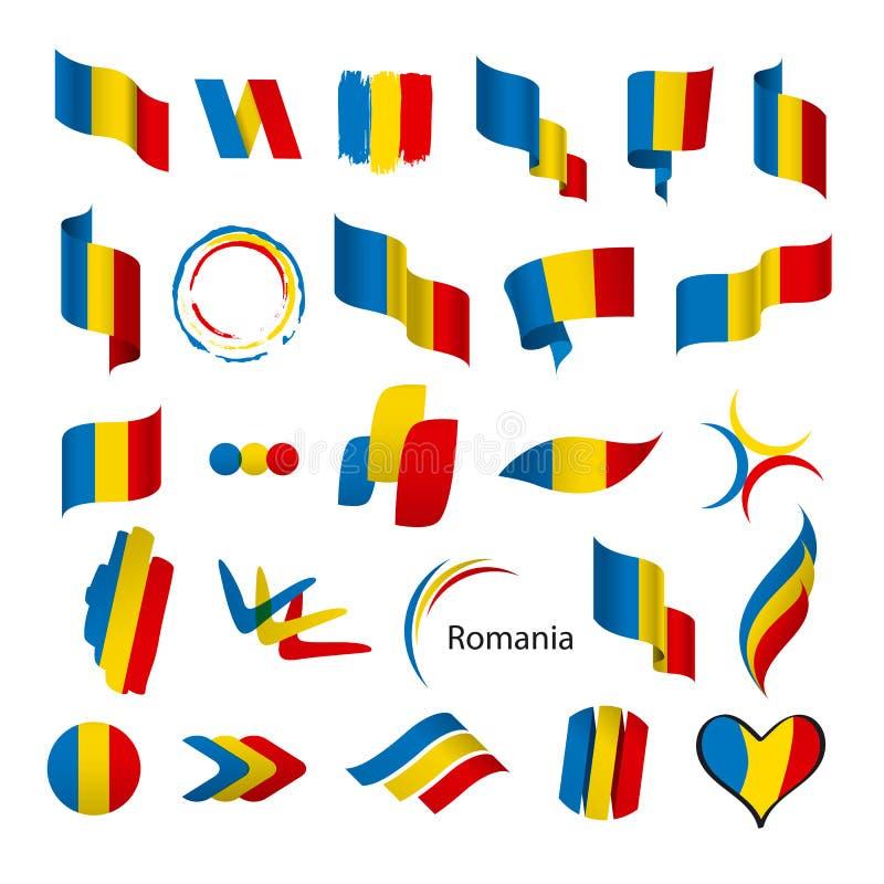 Inzameling van vectorvlaggen van Roemenië stock illustratie