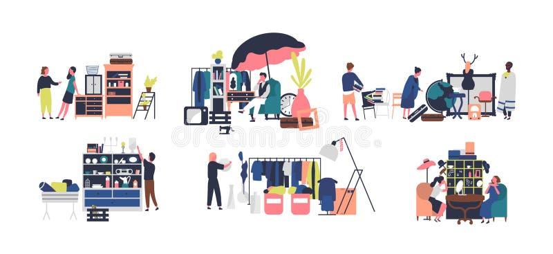 Inzameling van verkopers en tellers van vlooienmarkt, voddenmarkt Mensen die uitstekende goederen, juwelen en modieuze kleding ve vector illustratie