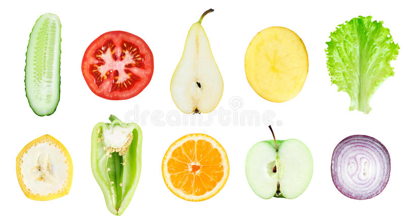 Inzameling van vers fruit en plantaardige plakken stock foto