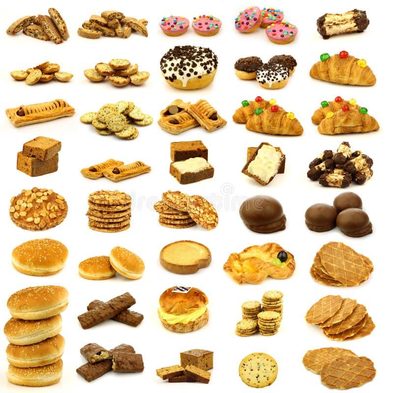 Inzameling van vers gebakken broodjes, koekjes en brood royalty-vrije stock foto's