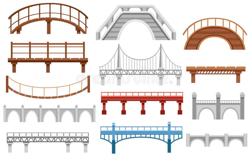 Inzameling van verschillende bruggen Het vlakke pictogram van de stadsarchitectuur Vector illustratie die op witte achtergrond wo stock illustratie