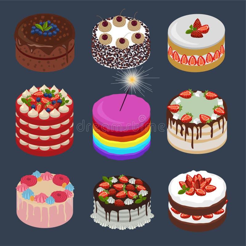 Inzameling van verschillende cakes in isometrische stijl Cakes met aardbei, bosbessen, bosbes, munt, chocolade, schuimgebakje, ma vector illustratie
