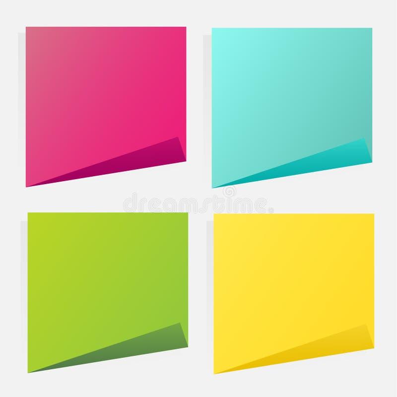 Inzameling van verschillende gekleurde bladen van notadocumenten Post-itnota stock illustratie