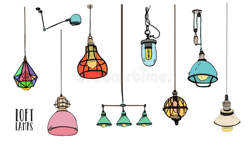 Inzameling van verschillende gekleurde zolderlampen of lichte inrichtingen op witte achtergrond Ouderwetse getrokken hand vector illustratie