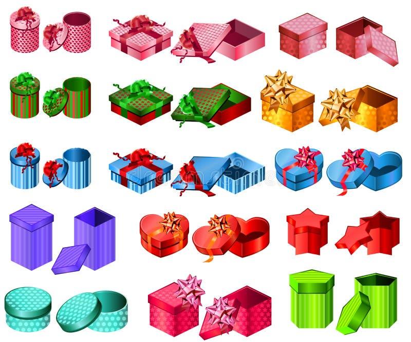 Inzameling van verschillende giftdozen vector illustratie
