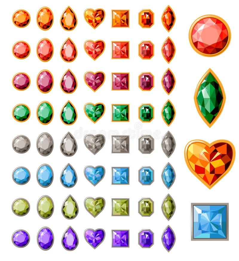 Inzameling van verschillende juwelen stock illustratie