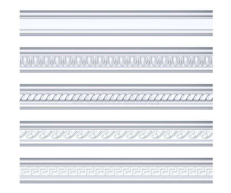 Inzameling van verschillende klassieke kroonlijsten op wit stock illustratie
