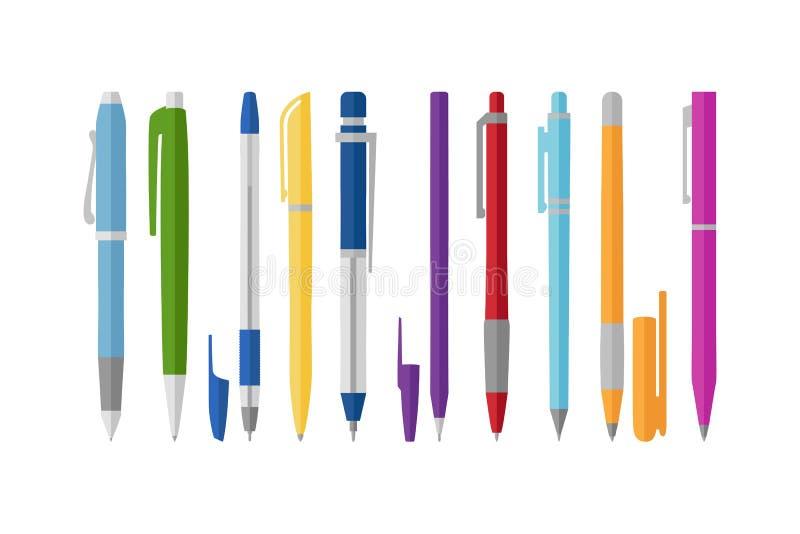 Inzameling van verschillende pennen, vlakke stijl, vectorillustratie vector illustratie