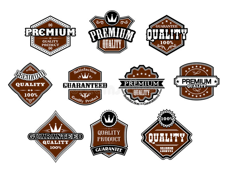 Inzameling van verschillende Premie en Kwaliteitslabels vector illustratie