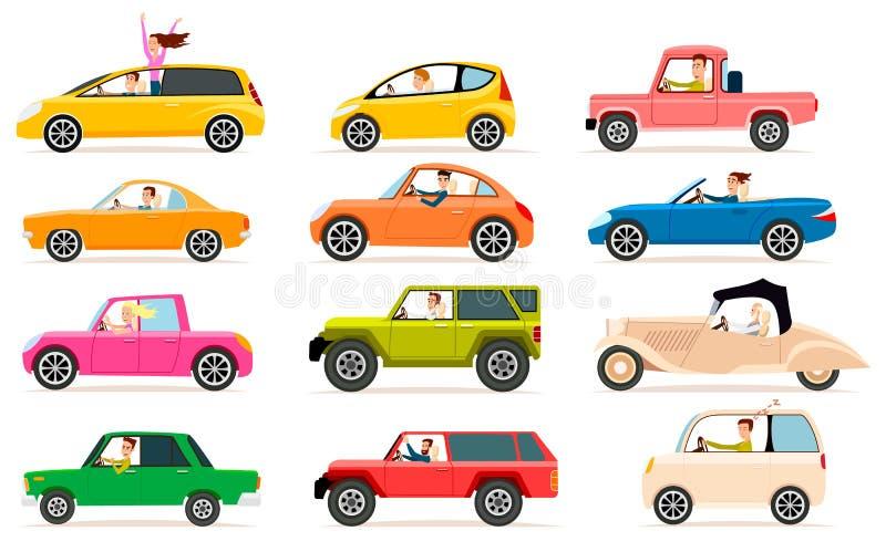 Inzameling van Verschillende Soorten Automobiele Cabine royalty-vrije illustratie