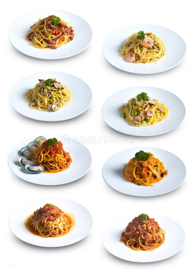 Inzameling van Verschillende Spaghettischotels royalty-vrije stock afbeelding