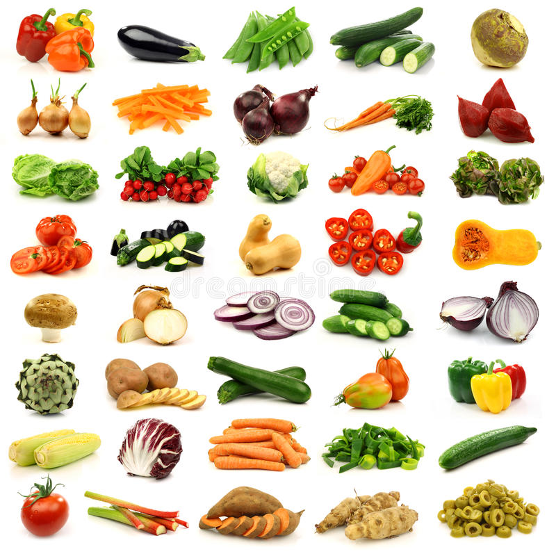 Inzameling van verse en kleurrijke groenten royalty-vrije stock afbeeldingen