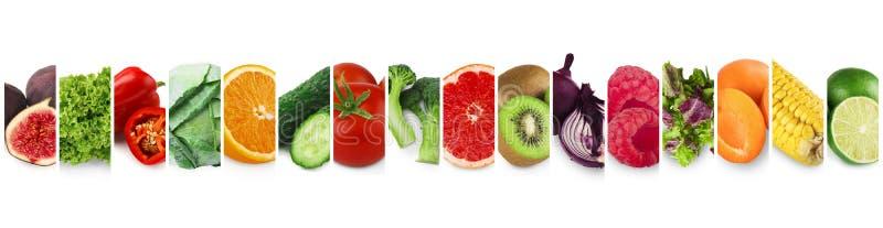 Inzameling van verse rijpe vruchten, groenten en bessen royalty-vrije stock afbeelding