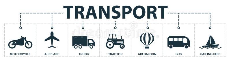 Inzameling van vervoer de vastgestelde pictogrammen Omvat eenvoudige elementen zoals Motorfiets, Vliegtuig, Vrachtwagen, Tractor, vector illustratie