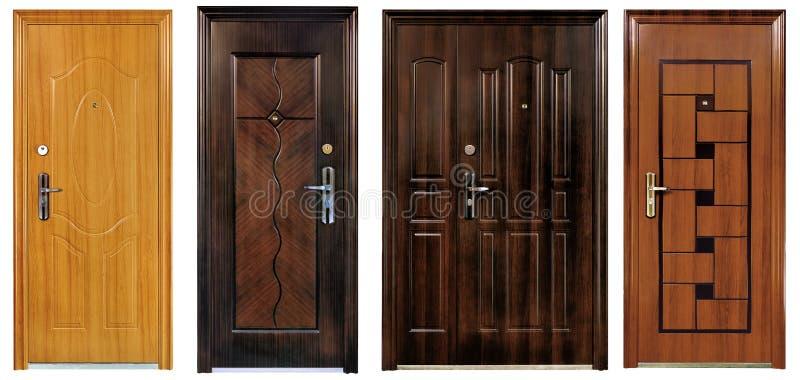 Inzameling van vier gesloten deuren stock afbeelding
