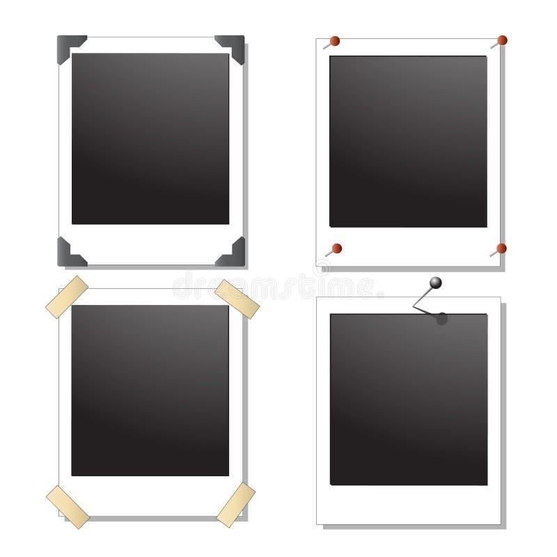 Inzameling van vier lege Polaroid- beelden met diff vector illustratie
