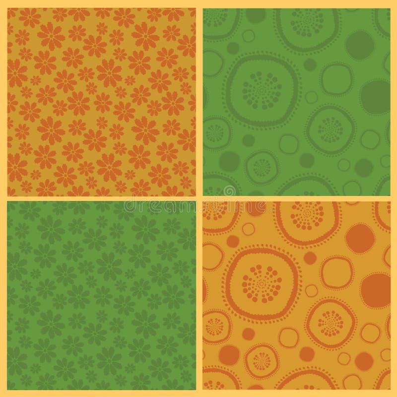 Inzameling van vier naadloze patronen stock illustratie