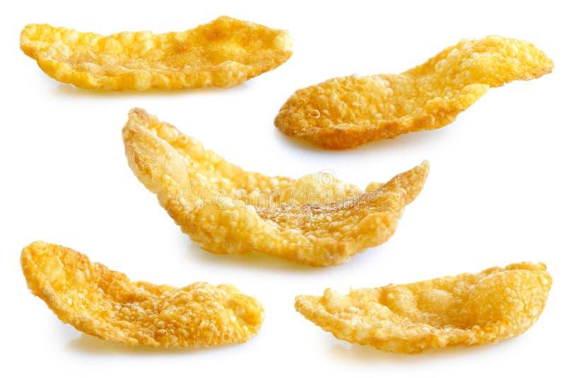Inzameling van vijf diverse die vormen van cornflakes op whit worden geïsoleerd royalty-vrije stock foto