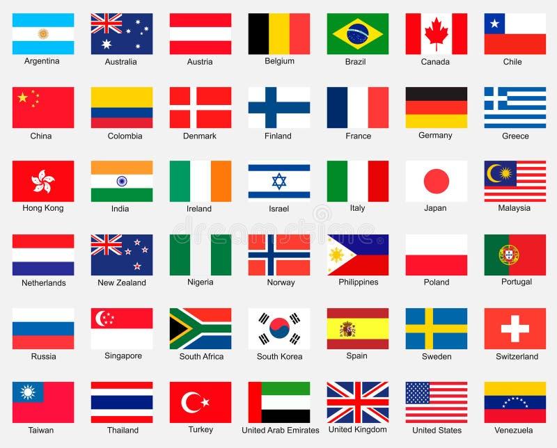 Inzameling van Vlaggen stock afbeelding