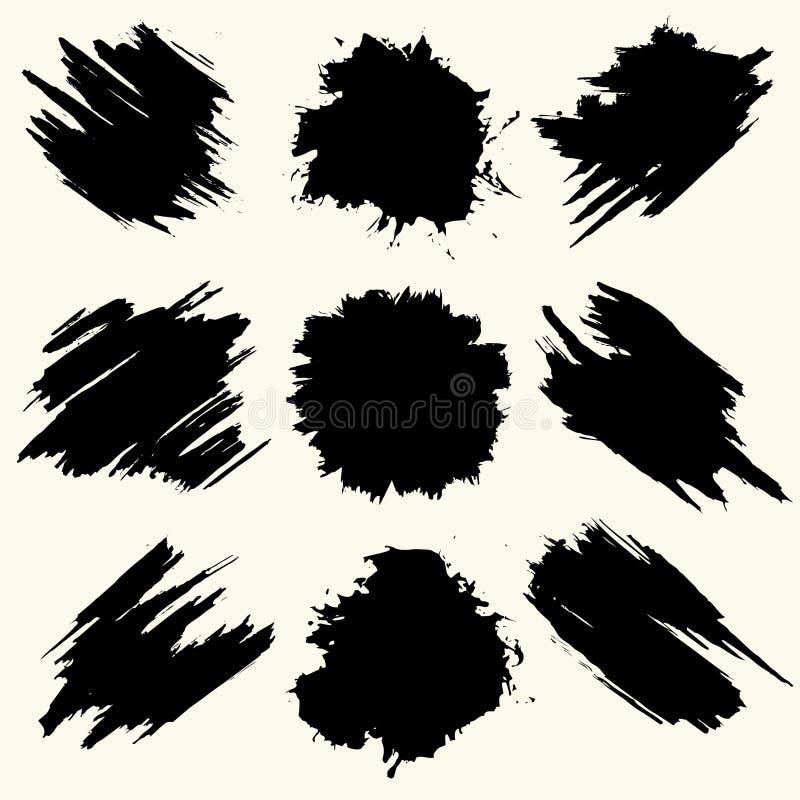 Inzameling van vlekken met zwarte verf, slagen, borstelslagen, vlekken en plonsen, vuile lijnen, ruwe texturen royalty-vrije illustratie